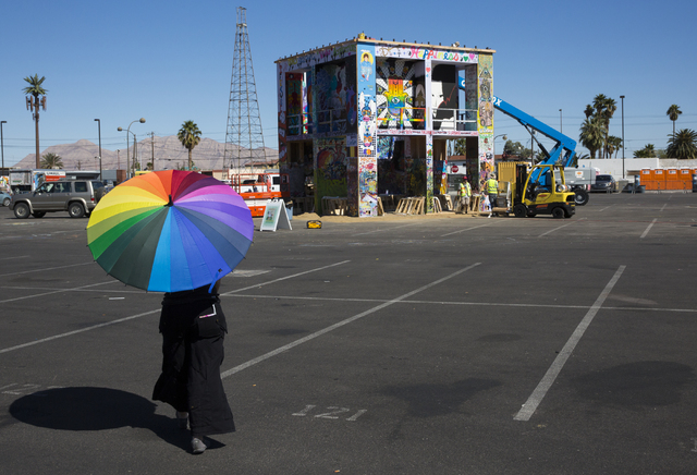 The life cube is constructed Saturday afternoon in preparation for the burn later that evening at 9th Street and Fremont Street, April 2, 2016, in Las Vegas. (Benjamin Hager/Las Vegas Review-Journ ...