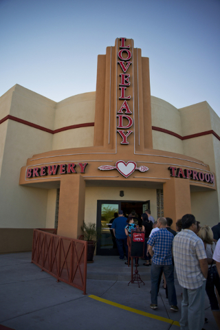 A line extends out onto the street during the grand opening of Lovelady Brewery and Taproom in downtown Henderson on Friday, April 1, 2016. (Daniel Clark/Las Vegas Review-Journal) Follow @DanJClar ...