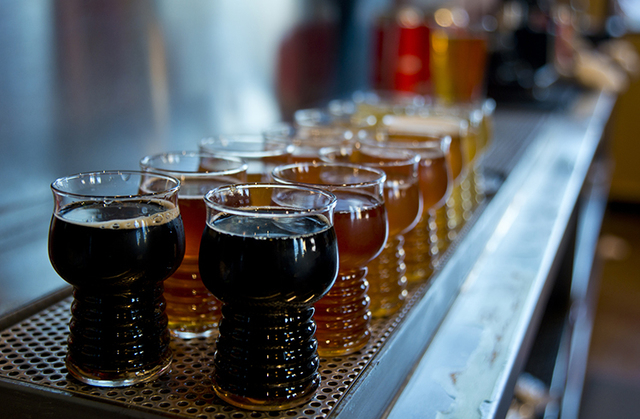 Sample glasses of beer await customers during the grand opening of Lovelady Brewery and Taproom in downtown Henderson on Friday, April 1, 2016. (Daniel Clark/Las Vegas Review-Journal) Follow @DanJ ...