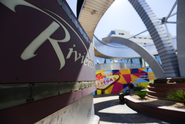 The Las Vegas Convention and Visitors Authority board of directors agreed to a plan on Tuesday, April 12, 2016, which will bring down the Riviera's two hotel towers in implosions this summer. (Bre ...
