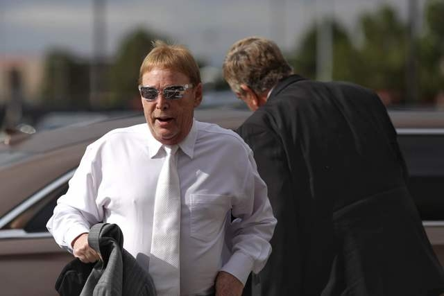 Oakland Raiders owner Mark Davis arrives at the Stan Fulton Building on the UNLV campus for the Southern Nevada Tourism Infrastructure Committee meeting, Thursday, April 28, 2016. (Brett Le Blanc/ ...