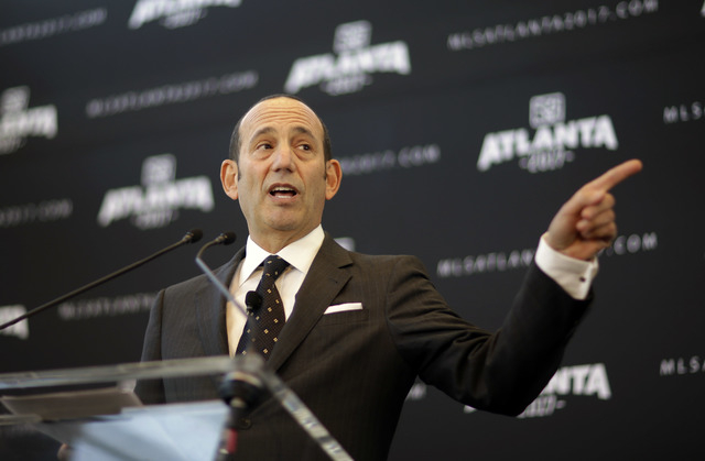 In this April 16, 2014, file photo, Major League Soccer Commissioner Don Garber speaks during a news conference in Atlanta, announcing the city will be getting an MLS expansion team. (David Goldma ...