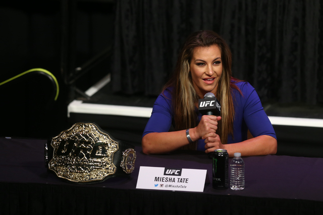 UFC fighter Miesha Tate speaks during a press conference ahead of UFC 200 at the MGM Grand hotel-casino in Las Vegas on Friday, April 22, 2016. (Chase Stevens/Las Vegas Review-Journal) Follow @css ...