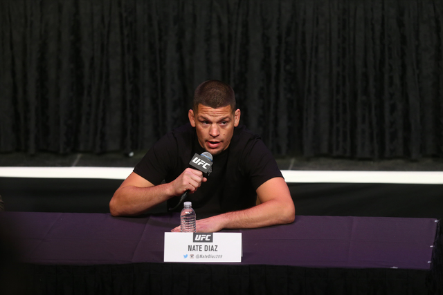 UFC fighter Nate Diaz speaks during a press conference ahead of UFC 200 at the MGM Grand hotel-casino in Las Vegas on Friday, April 22, 2016. (Chase Stevens/Las Vegas Review-Journal) Follow @csste ...