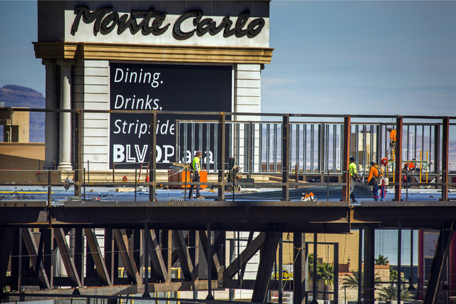 Construction is seen Thursday, March, March 31, 2016 at the Park Theater at Monte Carlo, 3770 Las Vegas Boulevard. The 5,000-seat  theater, which topped off earlier this week, will be opening late ...