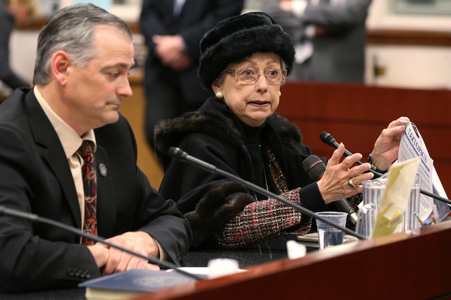 Nevada Sen. James Settelmeyer, R-Minden, and lobbyist Carol Vilardo present a bill in committee at the Legislative Building in Carson City, Nev., on Wednesday, March 4, 2015.  Cathleen Allison/Las ...