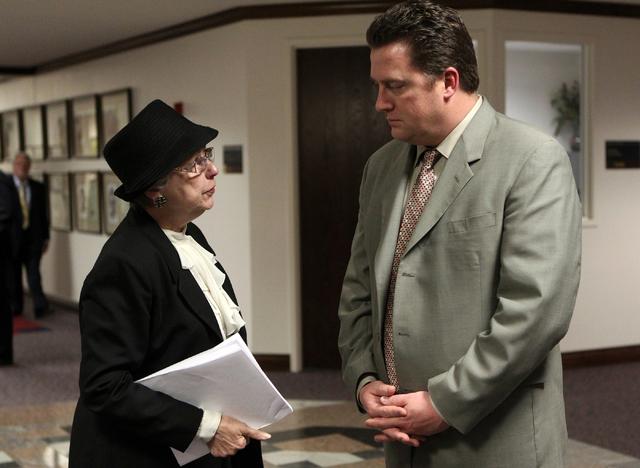 Lobbyist Carole Vilardo talks with then Assembly Speaker John Oceguera on June 6, 2011 at the Legislature in Carson City, Nev. Cathleen Allison/Las Vegas Review-Journal