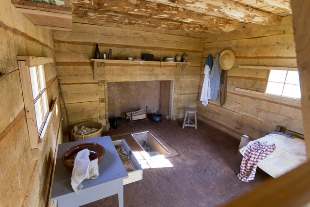 The inside of Hemmings Cabin is shown at Monticello, Thomas Jefferson's plantation home in Virginia, on April 24, 2015. Courtesy, Stacey Evans/Thomas Jefferson Foundation at Monticello