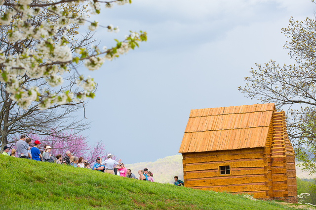 Tourists pass by Hemmings Cabin at Monticello, Thomas Jefferson's plantation home in Virginia, on April 17, 2015. Courtesy, Jack Looney/Thomas Jefferson Foundation at Monticello