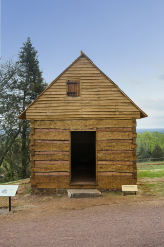 Hemmings Cabin is shown at Monticello, Thomas Jefferson's plantation home in Virginia, on April 16, 2015. Courtesy, Stacey Evans/Thomas Jefferson Foundation at Monticello
