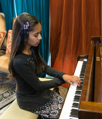 Jina Umakanthan, 12, plays DeBussy's Clair de lune during a piano lesson at Renaissance Music Academy in Henderson, Nev. on Friday, April 15, 2016. Donavon Lockett/Las Vegas Review-Journal