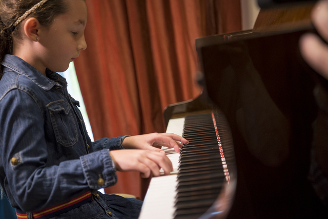 Sophia Pinter, a student at Renaissance Music Academy, performs on the piano at Renaissance Music Academy in Las Vegas on Friday, April 8, 2016. Joshua Dahl/Las Vegas Review-Journal