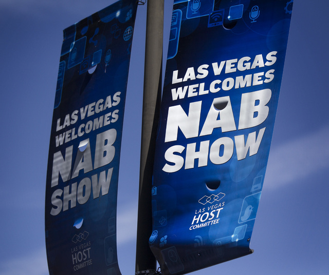 A  National Association of Broadcasters Show banner is seen National Association of Broadcasters Show in front of the Las Vegas Convention Center, 3150 Paradise Road Nearly 100,000 attendee are ex ...