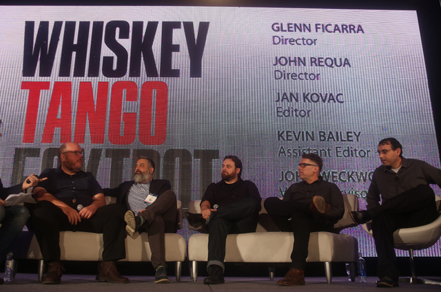 Director John Requa, from left, Director Glenn Ficara, Visual Effects Supervisor John L. Weckworth, Editor Jan Kovac, and Assistant Editor Kevin Bailey discuss the making of Whiskey Tango Bravo at ...