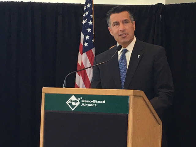 Gov. Brian Sandoval called a new drone contract with NASA an epic day for Nevada at a ceremony Wednesday, April 6, 2016, at the Reno-Stead Airport. Sean Whaley/Las Vegas Review-Journal