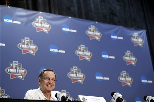 Oklahoma head coach Lon Kruger answers questions at a news conference for the NCAA Final Four college basketball tournament Thursday, March 31, 2016, in Houston. (AP Photo/David J. Phillip)
