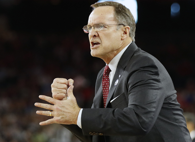 Oklahoma head coach Lon Kruger watches play against Villanova during the first half of the NCAA Final Four tournament college basketball semifinal game Saturday, April 2, 2016, in Houston. (AP Pho ...