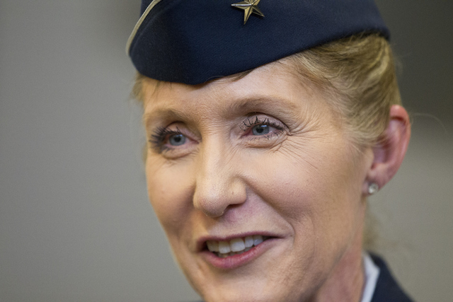Brig. Gen. Jeannie Leavitt is interviewed following her change in command ceremony for the 57th Wing at Nellis Air Force Base on Friday, April 15, 2016, in Las Vegas. Leavitt is taking over former ...