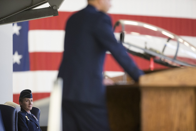 Brig. Gen. Jeannie Leavitt listens during her change in command ceremony for the 57th Wing at Nellis Air Force Base on Friday, April 15, 2016, in Las Vegas. Leavitt is taking over former Brig. Gen ...