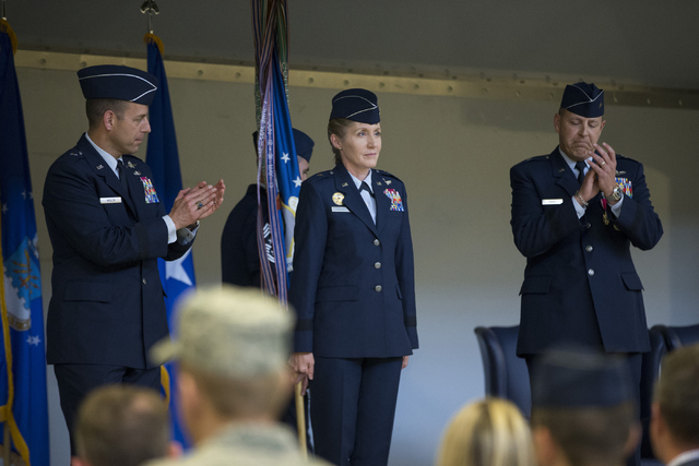 Brig. Gen. Jeannie Leavitt, center, is welcomed to her new position during her change of command ceremony for the 57th Wing at Nellis Air Force Base on Friday, April 15, 2016, in Las Vegas. Leavit ...