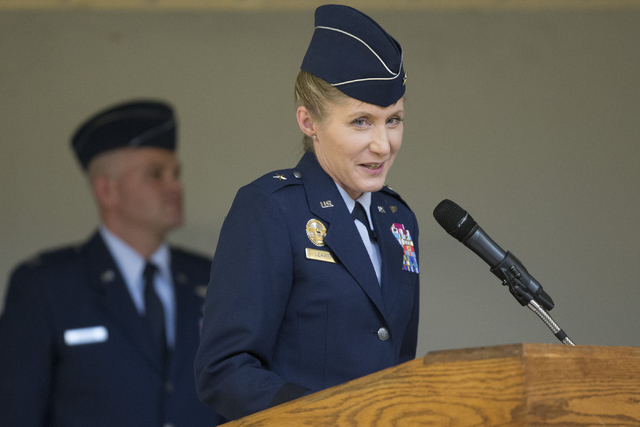 Brig. Gen. Jeannie Leavitt speaks during her change in command ceremony for the 57th Wing at Nellis Air Force Base on Friday, April 15, 2016, in Las Vegas. Leavitt is taking over former Brig. Gen. ...