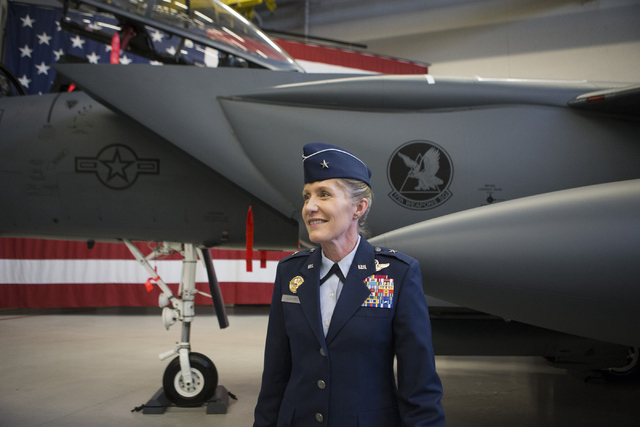 Brig. Gen. Jeannie Leavitt looks on during her change in command ceremony for the 57th Wing at Nellis Air Force Base on Friday, April 15, 2016, in Las Vegas. Leavitt is taking over former Brig. Ge ...