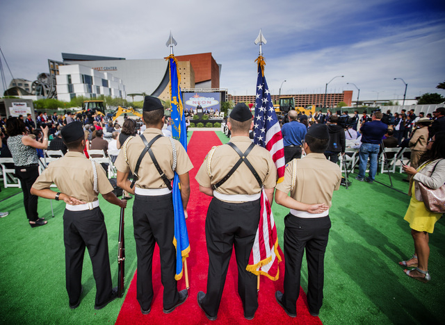Honor Guard stands during the groundbreaking for Project Neon near The Smith Center for the Performing Arts  in Las Vegas on Thursday, April 7, 2016. Jeff Scheid/Las Vegas Review-Journal Follow @J ...