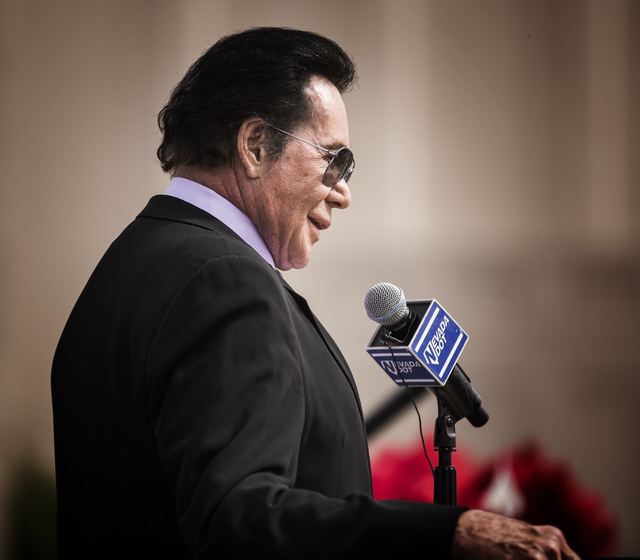 Entertainer Wayne Newton addresses guests during the groundbreaking for Project Neon near The Smith Center for the Performing Arts in Las Vegas on Thursday, April 7, 2016. Jeff Scheid/Las Vegas Re ...