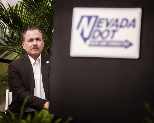 Nevada Director of Transportation Rudy Malfabon sits during the groundbreaking for Project Neon near The Smith Center for the Performing Arts in Las Vegas on Thursday, April 7, 2016. Jeff Scheid/L ...