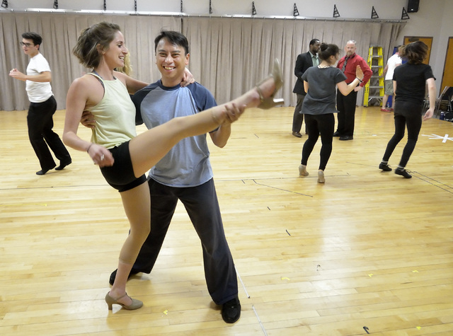 """Lois Lane (Madison Kisst), left, and Bill Calhoun (Lysander Abadia) kick up their heels during a """"Kiss Me Kate"""" rehearsal at UNLV. The Cole Porter musical opens Friday. Bill Hughes/Las Vegas Revie ..."""