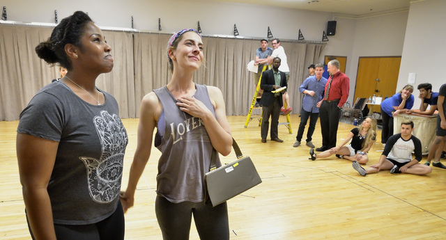 """Ashlie Carter (as Hattie), left, and Zipporah Peddle (as Lilli Vanessi) rehearse a scene from """"Kiss Me Kate."""" The Cole Porter musical, inspired by Shakespeare's """"Taming of the Shrew,"""" opens Friday ..."""