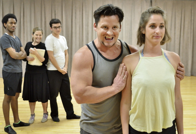 """Rehearsing their """"Kiss Me Kate"""" roles, Steve Judkins (as director-actor Fred Graham), center, takes an interest in young colleague Lois Lane (Madison Kisst). Bill Hughes/Las Vegas Review-Journal"""