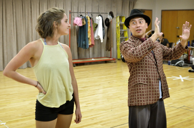 """Singer-dancer Lois Lane (Madison Kisst), left, asks Bill Calhoun (Lysander Abadia), her castmate and boyfriend, """"Why Can't You Behave?"""" in a rehearsal for the Cole Porter musical """"Kiss Me Kate,"""" w ..."""