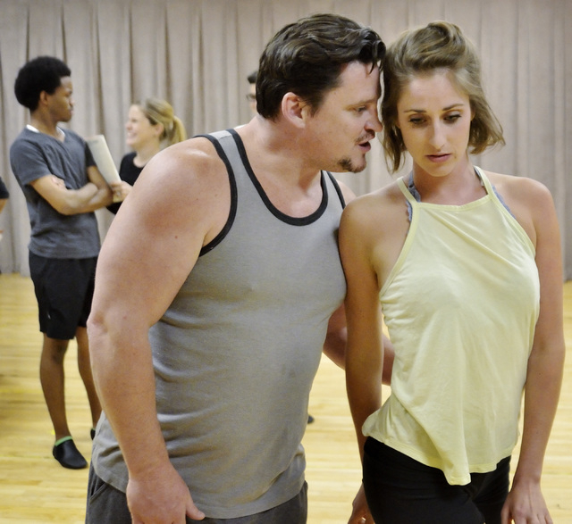 """Madison Kisst, right, and Steve Judkins rehearse a Cole Porter number in the musical """"Kiss Me Kate."""" The Nevada Conservatory Theatre production opens Friday at UNLV. Bill Hughes/Las Vegas Review-J ..."""