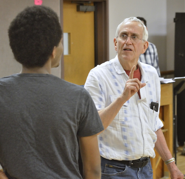 """Director Russell Treyz, right, talks with a cast member during a """"Kiss Me Kate"""" rehearsal at UNLV. The Cole Porter musical opens Friday in the Judy Bayley Theatre. Bill Hughes/Las Vegas Review-Journal"""