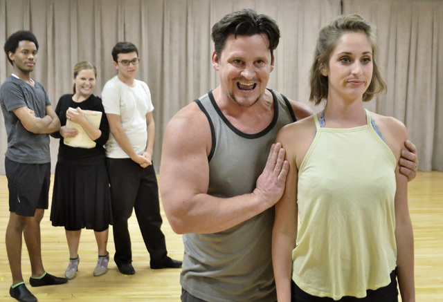 """Madison Kisst, right, and Steve Judkins rehearse a musical number for Nevada Conservatory Theatre's production of Cole Porter's """"Kiss Me Kate."""" Bill Hughes/Las Vegas Review-Journal"""