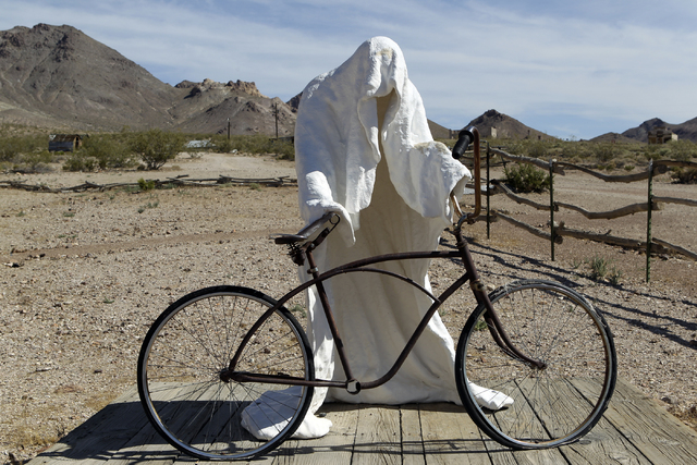 """""""Ghost Rider,"""" a 1984 sculpture by Belgian artist Charles Albert Szukalski, is shown in the Goldwell Open Air Museum, adjacent to Rhyolite ghost town near Beatty, in June 2011. (K.M. Cannon/Las Ve ..."""