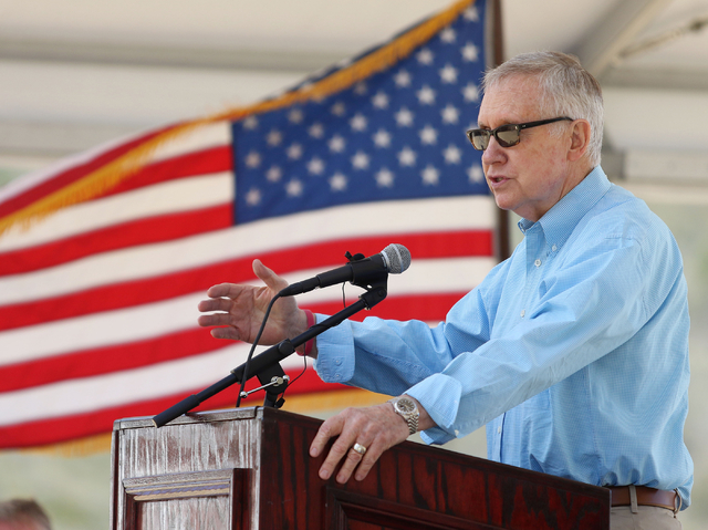 U.S. Sen. Harry Reid, D-Nev., speaks during a grand opening ceremony at Spring Mountains Visitor Gateway Friday, May 30, 2015, in Kyle Canyon near Las Vegas. The new 128-acre complex is located on ...