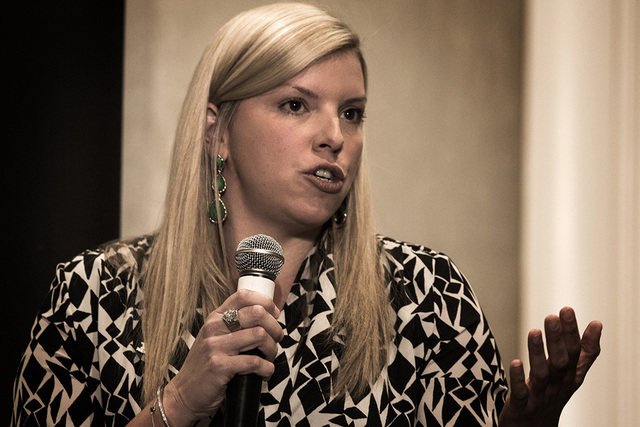 Nevada State Board of Education Vice President Allison Serafin, speaks during the Newsfeed Breakfast at the Four Seasons Hotel Las Vegas, 3960 Las Vegas Boulevard South, on Tuesday, March 17, 2015 ...