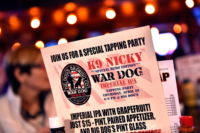 A flier is displayed for a special beer to be created honoring K-9 Nicky at the Draft House Friday, April 15, 2016, in Las Vegas.  (David Becker/Las Vegas) Review-Journal Follow @davidjaybecker