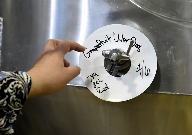 A tag is seen marking a vat where a special beer is fermenting before being bottled at the Draft House Friday, April 15, 2016, in Las Vegas.  (David Becker/Las Vegas Review-Journal) Follow @davidj ...
