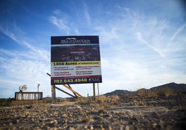 A sign at Apex near the site of the proposed Faraday Motor Works  plant is  seen Wednesday, Sept. 9, 2015. (Jeff Scheid/Las Vegas Review-Journal) Follow @jlscheid