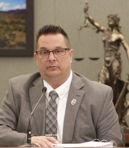 North Las Vegas Police Supervisors Union president, Leonard Cardinale, takes the witness stand Thursday, March 31, 2016, at Regional Justice Center during an evidentiary hearing in a case involvin ...