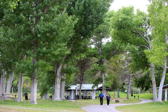 Jess and Marisela Gomez take a stroll at Floyd Lamb Park at Tule Springs on April 11. Rachel Aston/View Follow @rookie__rae