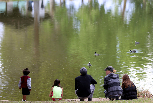 A family stands near a pond on April 11 at Floyd Lamb Park at Tule Springs. Rachel Aston/View Follow @rookie__rae