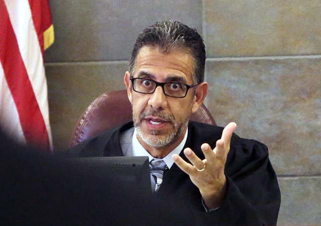 Judge Michael Villani speaks at what was to be a sentencing for Erich Nowsch and Derrick Andrews on Thursday, April 21, 2016, at the Regional Justice Center. The hearing was rescheduled for May 10 ...