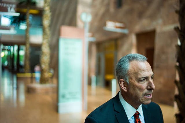 Clark County District Attorney Steve Wolfson talks with reporters following a hearing at the Regional Justice Center in Las Vegas on Friday, March 4, 2016. (Chase Stevens/Las Vegas Review-Journal  ...