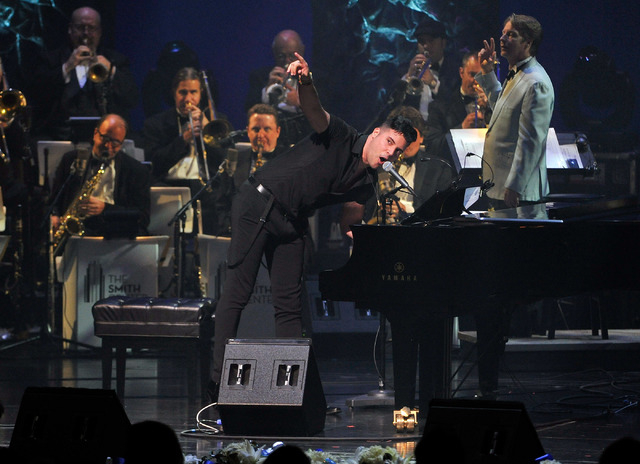 """Frankie Moreno performs during the Nevada Sesquicentennial All-Star Concert at The Smith Center for the Performing Arts Sept. 22, 2014. His new show, """"Frankie Moreno — Under the Influence,""""  ..."""