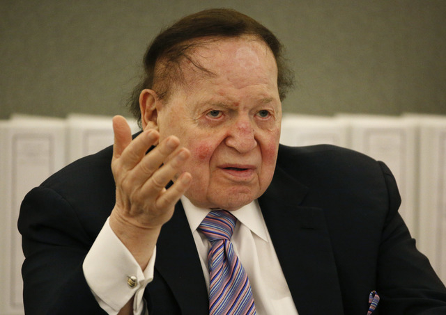 Las Vegas Sands Corp. Chairman and CEO Sheldon Adelson testifies in court Monday, May 4, 2015, in Las Vegas. Steven Jacobs, former Sands Macau resort chief, is suing Sands China and Las Vegas Sand ...