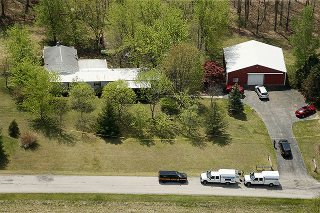 This aerial photo shows one of the locations being investigated in Pike County, Ohio, as part of an ongoing homicide investigation, Friday, April 22, 2016.  (Lisa Marie Miller/The Columbus Dispatc ...